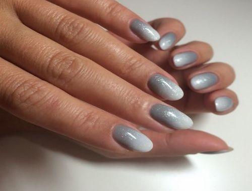 Градиент гель лак цвет серебро