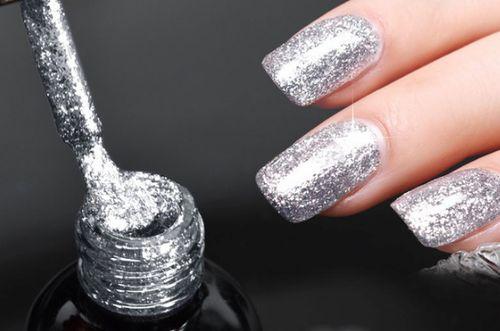 Гель-лак Oxxi №94, серебряный с блестками