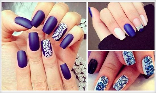 Яркие длинные ногти в синих тонах