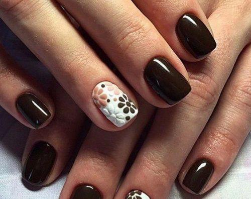 дизайн ногтей с коричневым гель лаком фото