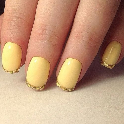 Маникюр гель лак светло желтый оттенок