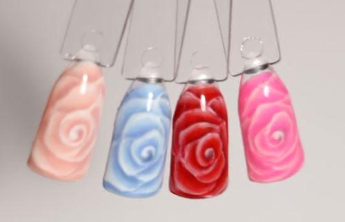 Розы на ногтях разных оттенков