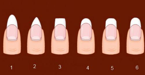 Шесть форм ногтей