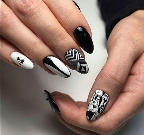 Черно белый геометрический маникюр