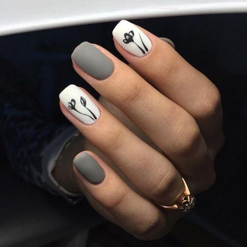 Дизайн ногтей в серых тонах